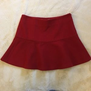 Joie Red Wool Flared Skirt